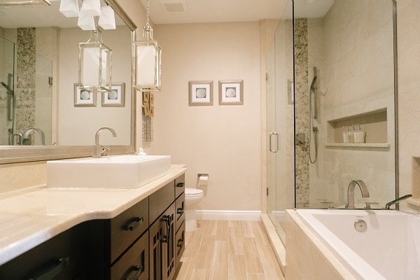 Custom bathroom design and remodeling company kbf design gallery for Small bathroom remodel photo gallery