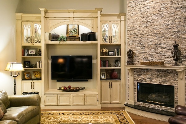 Stone Fireplace and Entertainment Center Remodel