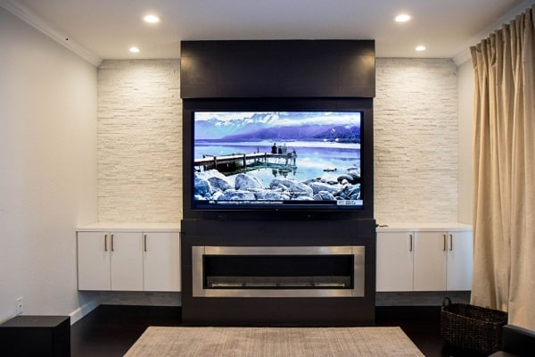 Entertainment Wall with Ethanol Fireplace