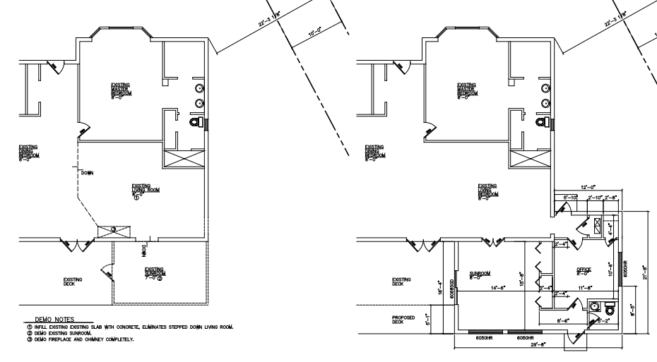 Floorplan before and after addition