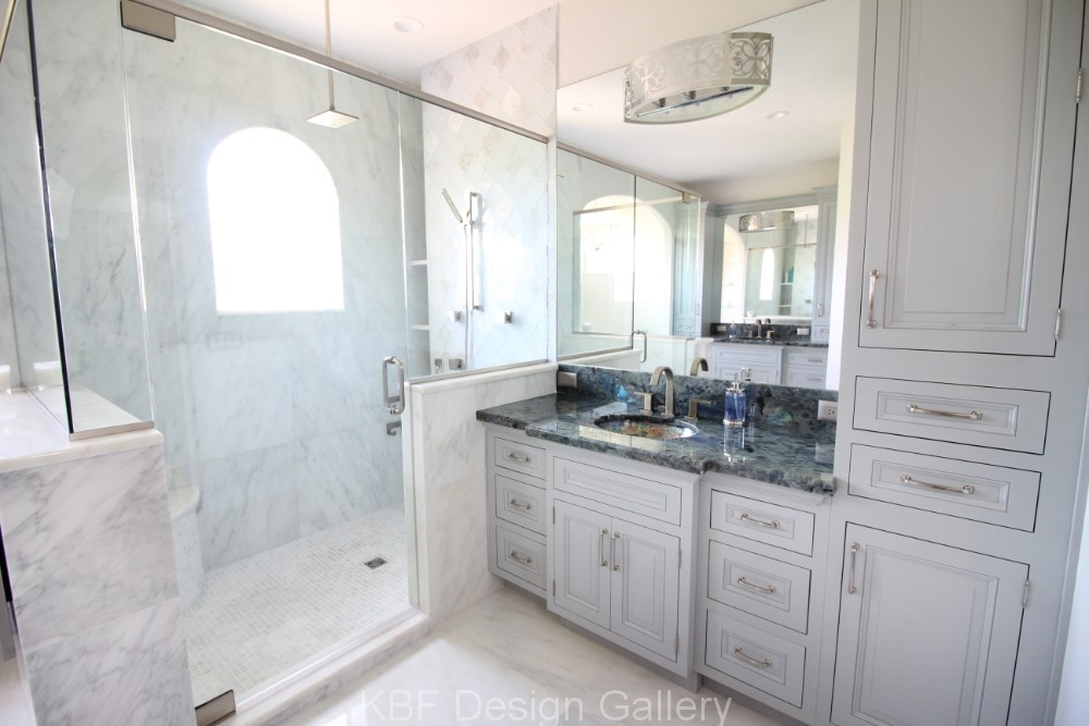 Marble tile master bath kbf design gallery for Bathroom remodel orlando